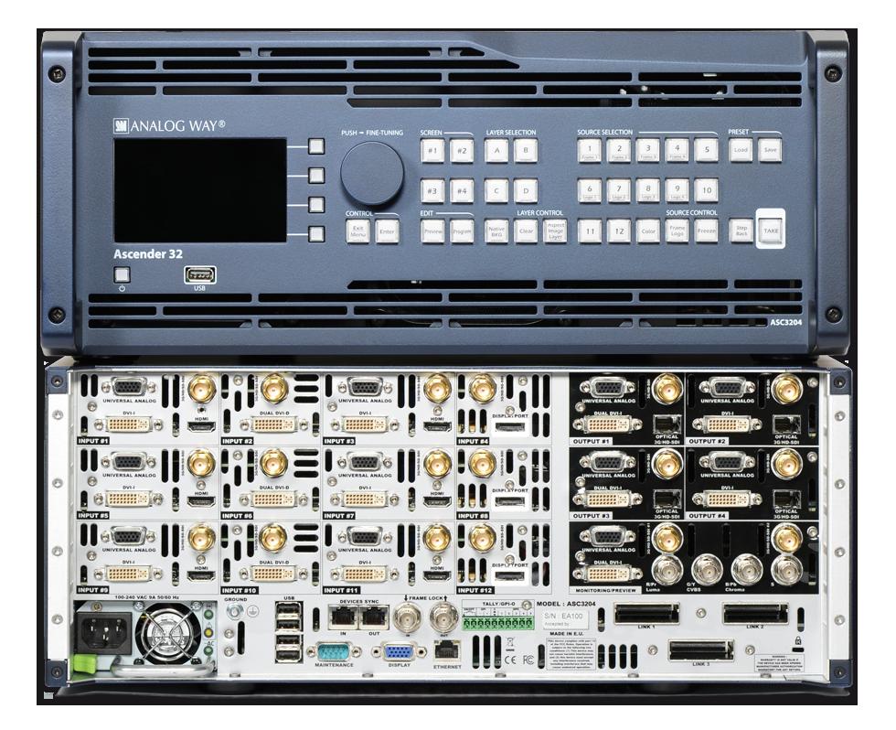 Ascender 32 de Analog Way en Broadcast Video Technology para DEMOS, FORMACIÓN, ETC.